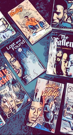 Bluford Series book covers appear as colorful cartoons